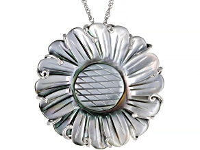 Tahitian Mother-of-Pearl Rhodium Over Sterling Silver Pendant With Chain Plus 2 Inch Extender