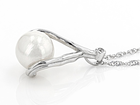 White Cultured Freshwater Pearl & Cubic Zirconia Rhodium Over Sterling Silver Pendant With Chain