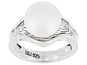 White Cultured Freshwater Pearl 11.5-12mm Rhodium Over Sterling Silver Ring