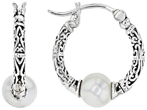 White Cultured Freshwater Pearl Sterling Silver Hoop Earrings