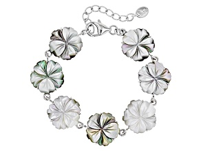 Mother Of Pearl Rhodium Over Sterling Silver Flower Bracelet 16mm