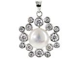 Cultured Freshwater Pearl And Cubic Zirconia Sterling Silver Pendant