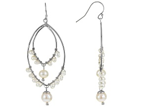Cultured Freshwater Pearl Rhodium Over Sterling Silver Earrings