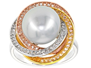 Cultured South Sea Pearl With Topaz Rhodium & 18k Yellow And Rose Gold Over Sterling Silver Ring