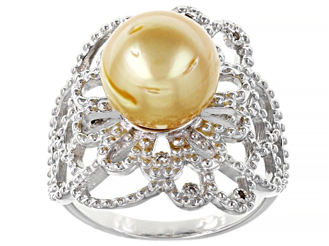 Cultured South Sea Pearl With Topaz Rhodium Over Sterling Silver Ring 10-11mm