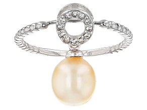 Cultured South Sea Pearl With Topaz Rhodium Over Sterling Silver Ring That Converts To A Pendant
