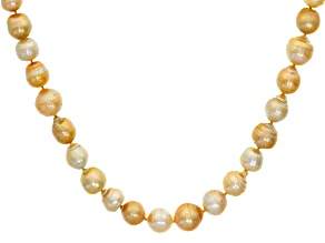 Cultured South Sea Pearl 18k Yellow Gold Over Sterling Silver Necklace 10-13mm