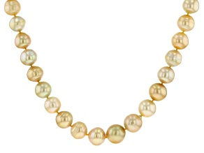 Golden Cultured South Sea Pearl 18k Yellow Gold Over Sterling Silver Necklace 11-14mm
