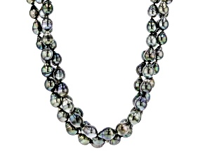 Cultured Tahitian Pearl Rhodium Over Sterling Silver Necklace 8-10mm