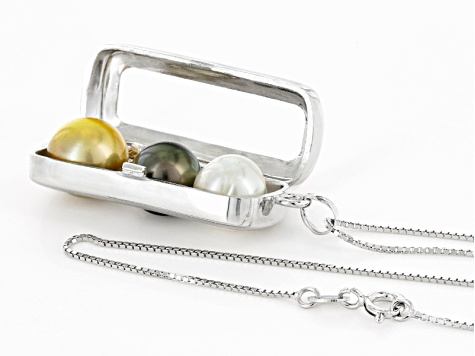 Cultured Tahitian And South Sea Pearl Sterling Silver Pendant With Chain 9-10mm