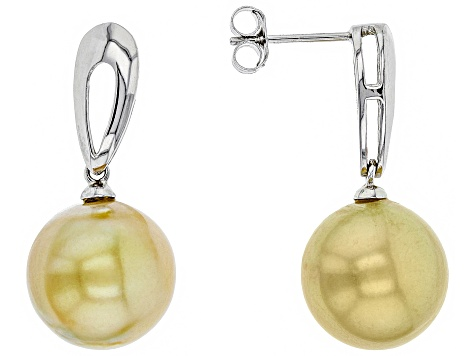 Cultured South Sea Pearl Rhodium Over Sterling Silver Earrings 12-13mm