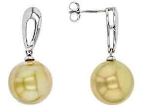Cultured South Sea Pearl Sterling Silver Earrings 12-13mm