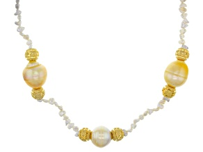 Cultured Golden South Sea Pearl And Keshi Akoya Pearl 18k Yellow Gold Over Silver Necklace