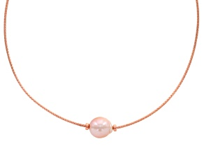 Cultured Freshwater Pearl 18k Rose Gold Over Sterling Silver Necklace