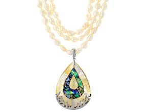 Mother-Of-Pearl, Abalone And Cultured Freshwater Pearl Sterling Silver Necklace