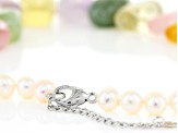 Cultured Freshwater Pearl And Multigem Sterling Silver Necklace 7.5-8mm