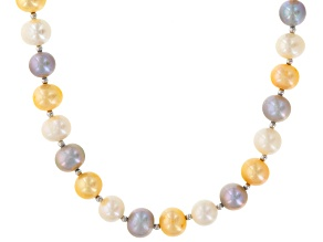 Cultured Freshwater Pearl Rhodium Over Sterling Silver Necklace 6-10mm