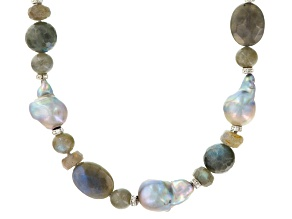 Cultured Freshwater Pearl, Labradorite And Cubic Zirconia Rhodium Over Silver Necklace
