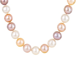 10-14mm Cultured Freshwater Pearl Rhodium Over Sterling Silver Necklace