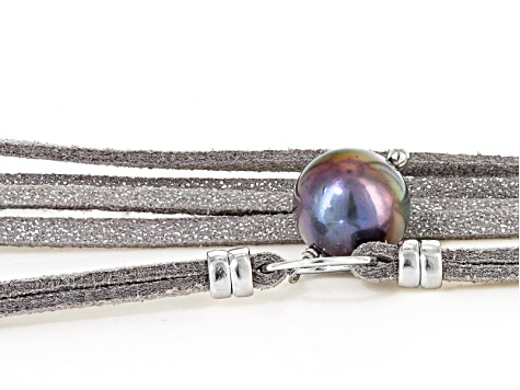 Cultured Freshwater Pearl Rhodium Over Sterling Silver Gray Wrap Necklace 8.5-11.5mm