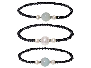 Cultured Freshwater Pearl, Hematine And Amazonite Sterling Silver Bracelet Set Of 3