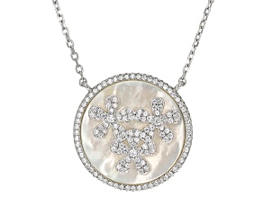 White Mother Of Pearl And Cubic Zirconia Sterling Silver Necklace