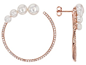 Cultured Freshwater Pearl And Cubic Zirconia 18k Rose Gold Over Silver Earrings