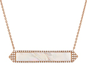 White Mother Of Pearl And Cubic Zirconia 18k Rose Gold Over Silver Necklace