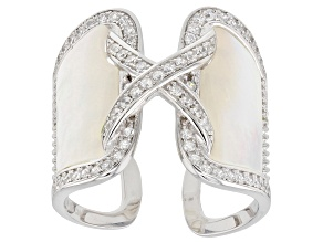 White Mother Of Pearl And Cubic Zirconia Rhodium Over Silver Ring