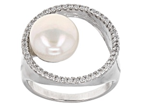 Cultured Freshwater Pearl And Cubic Zirconia Sterling Silver Ring
