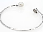 Cultured Freshwater Pearl And Cubic Zirconia Sterling Silver Cuff Bracelet