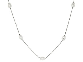 Cultured Freshwater Pearl Rhodium Over Sterling Silver Necklace 8-8.5mm