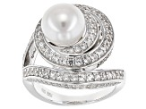 Cultured Freshwater Pearl And White Zircon Rhodium Over Sterling Silver Ring