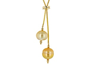 Golden Cultured South Sea Pearl 14k Yellow Gold Necklace 11-13mm