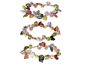 Cultured Freshwater Pearl Stretch Bracelet Set Of 3
