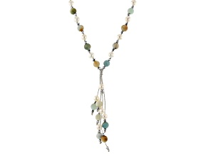 Cultured Freshwater Pearl, Amazonite And Hematine Sterling Silver Necklace 7-7.5mm