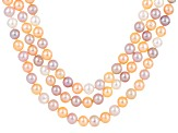 Cultured Freshwater Pearl Rhodium Over Sterling Silver Multi Strand Necklace 7-9.5mm