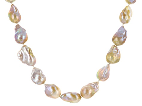 Cultured Freshwater Pearl Rhodium Over Sterling Silver Necklace 12-20mm