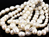 Cultured Freshwater Pearl Rhodium Over Sterling Silver Bracelet 5-11mm