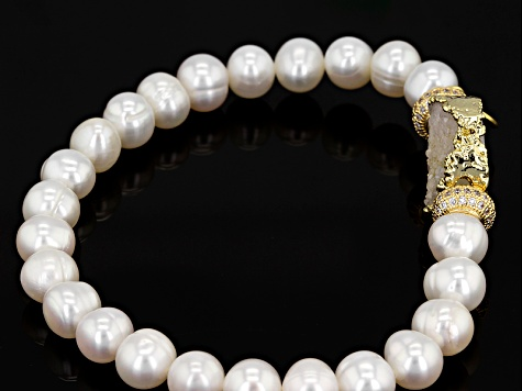 Cultured Freshwater Pearl, Drusy Quartz And Cubic Zirconia 18k Yellow Gold Over Silver Bracelet