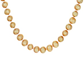 Cultured Freshwater Pearl And Diamond 18k Yellow Gold Over Sterling Silver Necklace 11-11.5mm