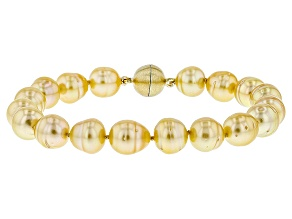 Golden Cultured South Sea Pearl 14k Yellow Gold Over Sterling Silver Bracelet 9-10mm