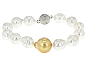 White And Golden Cultured South Sea Pearl Rhodium Over Sterling Silver Bracelet 9-10mm