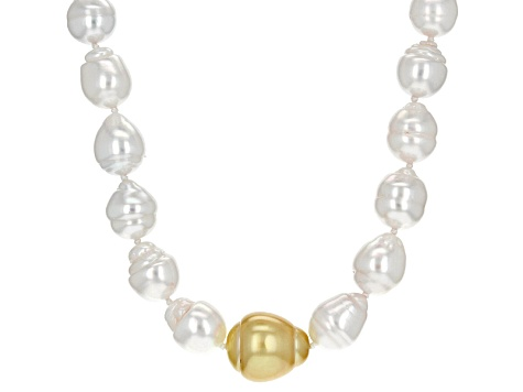 White And Golden Cultured South Sea Pearl Rhodium Over Sterling Silver Necklace 9-10mm