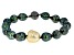 Cultured Tahitian And Golden South Sea Pearl Black Rhodium Over Sterling Silver Bracelet