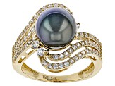 Cultured Tahitian Pearl With Zircon 14k Yellow Gold Ring 9.5-10mm