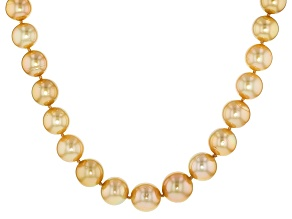 Golden Cultured South Sea Pearl 14k Yellow Gold Strand Necklace 10-13mm