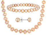 Cultured Freshwater Pearl Rhodium Over Sterling Silver Necklace, Earrings And Bracelet Set