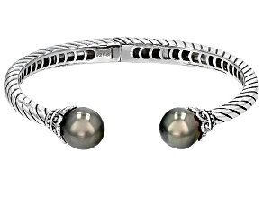 Cultured Tahitian Pearl Rhodium Over Sterling Silver Bracelet 11-12mm