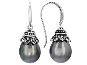 Cultured Tahitian Pearl Rhodium Over Sterling Silver Earrings 11-12mm